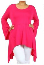 BENICHI BR Bell Sleeves Asymmetrical Tunic Top Plus Size 3XL PINK