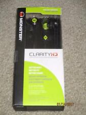 Monster Clarity HD High Definition In Ear Headphones Black and Neon Green