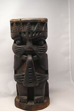 VINTAGE old Solid Wooden carved TIKI Totem God Pole figure statue/candle  holder