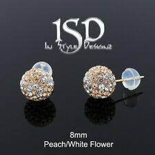 14k Gold 8mm Swarovski Elements Peach White Flower Crystal Ball Studs Earrings