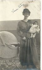 Vintage Snapshot / Photo Woman Holding Large Doll - Wicker Buggy ID & State