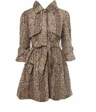 MISS SELFRIDGE Beige Ditsy Print Mac Trench Coat 3/4 Sleeves UK 6 NEW