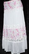 M White Gypsy Boho Bohemian Hippie Peasant Lace Retro Slip Style Romantic Skirt