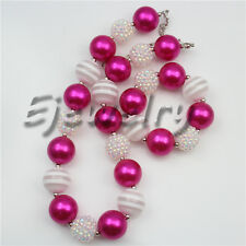 Hotpink Pearl White Stripe Resin Beads chunky Bubblegum necklace&bracelet CB763