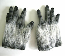 Gray Hairy Ape Hands Gorilla Halloween Monster Costume Adult Gloves