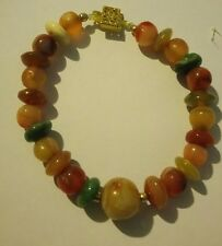 VICTORIAN REAL AGATE BEADED BRACELET GOLD PLATED CLASP