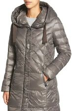 T Tahari 'Juliana Gisele' Quilted Hooded Down Coat Puffer Gray