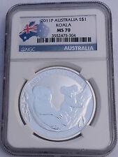 Australia 2011-P S$1 Silver Koala NGC MS-70 Australian Coin Bullion Flag Label