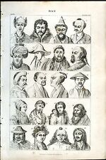 MAN 1862 Antique Print from Engraving Anthropology National Dress Hairstyles