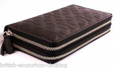 COACH DK Brown Bleecker Signature Leather Double Zip Organizer Wallet BNWT