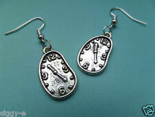 NEW! Salvador Dali Melted Clock - Tibetan Silver Earrings - In Organza bag..
