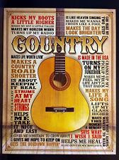 Country Guitar TIN SIGN Metal Quote Poster Music Western Bar Wall Decor