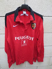 VINTAGE Maillot STADE TOULOUSAIN Nike shirt rugby coton rouge M Toulouse