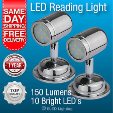 2 x Caravan Reading Lamps / Bunk Lights / Polished Stainless Steel Quality LEDs