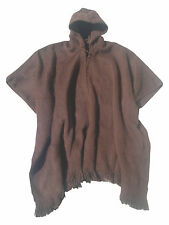 Poncho with Alpaca wool hood  Rustic for men, Light and Warm brown solid color