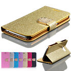 Bling Crystal Diamond Flip Wallet Leather Case Cover Chrom Plating Bumper Pouch