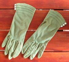 Smart olive green vintage dress gloves with buttoned wrists and top-stitching