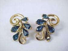 Ladies Vintage Trifari Blue Rhinestone Earrings Clip On /  Missing One Stone