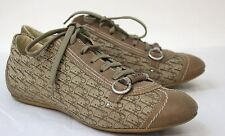 DIOR Ladies Brown & Beige Lace Up Round Toe Sneaker Style Trainers Size UK6 EU39
