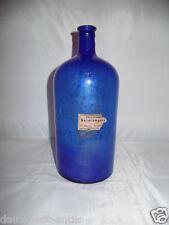 Antico Bottiglia farmacia in Blu con Inclusioni di aria ondulato Rari Raro