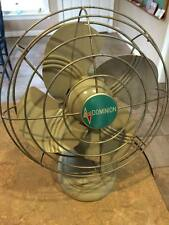 Vintage Dominion Oscillating Desk fan 1940s Art Deco blades Made in USA Works