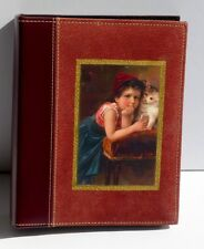 "Vintage Child & Kitten Image On Wine Leather & Suede Album Holds 200 4""x6"" Pics"