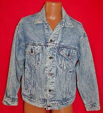 Vintage 80s LEVIS 70507 Blue Acid Stone Washed Denim Jean Mens JACKET Medium Vtg