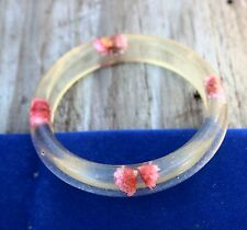 Pink inlay flowers lucite bangle 1970's  BRACELET