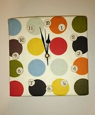 Handmade  Fabric Square Wall Hanging Clock Set Craft Original White Spotted Dot