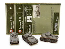 Axis and Allies France Renault R-35 TANKS x3 with cards 2/48 Wizards 34229