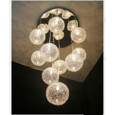 Aluminum Wire Ball Pendant Stair Glass Living Room Chandelier Ceiling Light Lamp