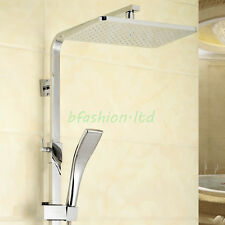 SQUARE DUAL HEAD THERMOSTATIC SHOWER MIXER CHROME BATHROOM EXPOSED VALVE SET UK