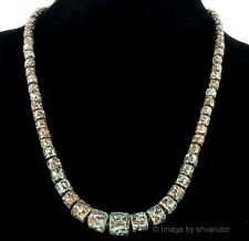 ANTIQUE VENETIAN OR BOHEMIAN LAVA FOIL GLASS LAMPWORK BEAD NECKLACE 22 1/2""