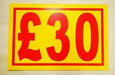 Market Trader £30 Price Correx Sign Board Double Sided & Waterproof
