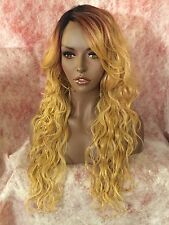 "100% Human Hair Blend 22"" Water Wave Lace Front Wig With Swooped Bangs (SALE)"