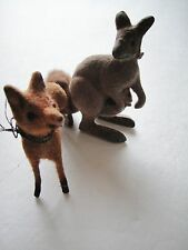 Vintage Kunstlerschutz Flocked Fox and Kangaroo Toy Animals