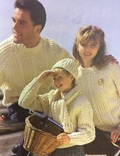Family Aran Sweater, Hat and Scarf  Knitting Pattern