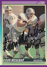 Don Mosebar Autograph On A 1990 Score - Oakland Raiders - Free Ship