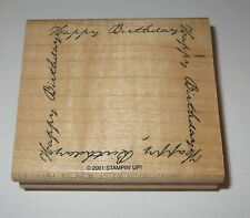 Happy Birthday Rubber Stamp Frame Stampin' Up! Wood Mounted Retired Design