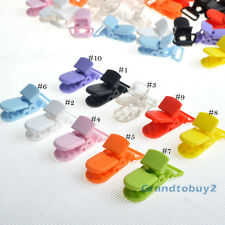 50pcs 10 Colors Baby Pacifier T-Shape Badge KAM Plastic Dummy Craft Clips Holder