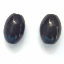 20 CRYSTAL GLASS 9x12MM OVAL BEADS- BLACK - G020