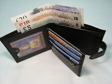 GENUINE Top Quality Mens Soft Leather Wallet WITH ID FLAP and Button Closer