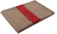 "Tan & Red Military Swiss Army Type European Style Wool Blanket - 62"" x 80"" 10238"