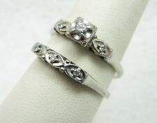 Vintage 18k White Gold Diamond Wedding Engagement Ring & Band Set Sz 8.75 -5.2g