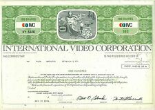 International Video Corporation Stock Certificate