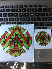 1- FIRE DEPARTMENT EMT Firefighter Chevron Reflective 3M Helmet Sticker Decal 2""