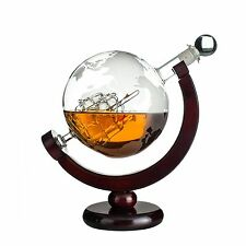 Eravino World Globe Decanter For Scotch Bourbon Rum Liquor and Wine with Anti...
