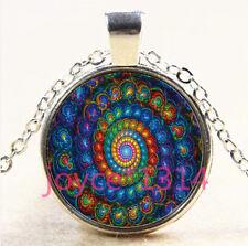 Vintage spiral Mandala Cabochon Tibetan silver Glass Chain Pendant Necklace#3748