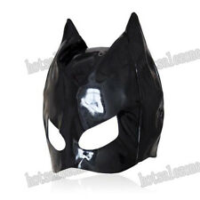 Enamel / patent Leather cat woman dominatrix mask hood head restraint Roleplay