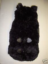 New Friends Forever Pet Faux Fur/Fleece Hooded Dog Coat Jacket Black M 13.5-15""